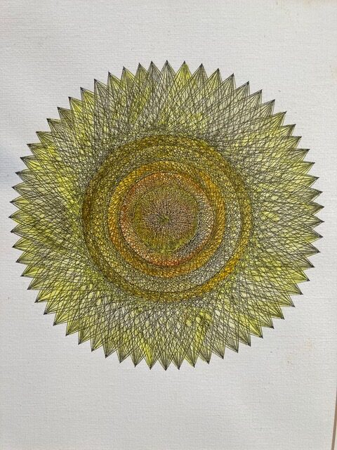 "Larry Gordon, Infinity 1, Ink on Paper, 12""x15"" framed, $600"
