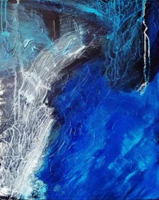 "Leslie Hardie, Blue Wave, Mixed media on canvas, 16""x20"", $850"