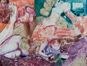 """Paula Blumenfeld, Sweet secluded spaces, Watercolor and collage, 26""""x31"""", $1,595"""