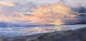 "Denise Petit Caplan, Sunset at Compo Beach, Acrylic on canvas, 12""x24"", $500"