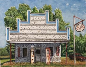 "Jim Maciel, Esso, Watercolor, 24""x30"", $250"