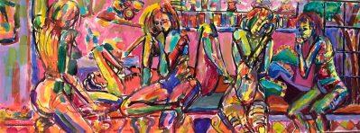 "Dorothy Cancellieri, Five Women, Acrylic on Board, 19""x39"", $650"