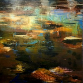 """Catherine Russell, Stepping Stones, Oil on canvas, 24""""x24"""", $900"""