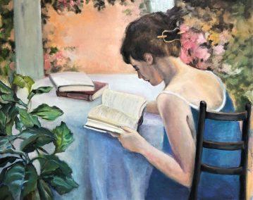 """Sherri Paul, Summer Reading , Oil on linen, 20""""x30"""", $800"""