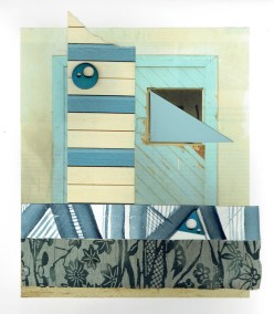"""Chris Timmons, Blue State 2, Mixed-media collage, 18""""x13"""", $575"""