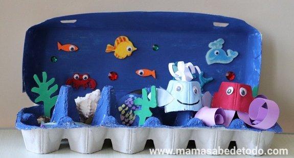 Manualidades oceano con carton de huevos