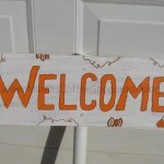 Fall Welcome Sign made with Upcycled / Repurposed Bead Board (Wainscoting) and PVC Pipe