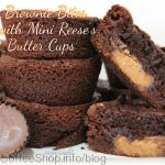 Chewy Brownie Bites filled with Mini Reese's Peanut Butter Cups {Recipe}