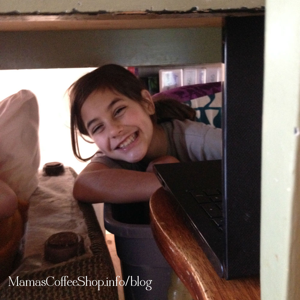 Mamas Coffee Shop | Under The Table with Computers to Homeschool