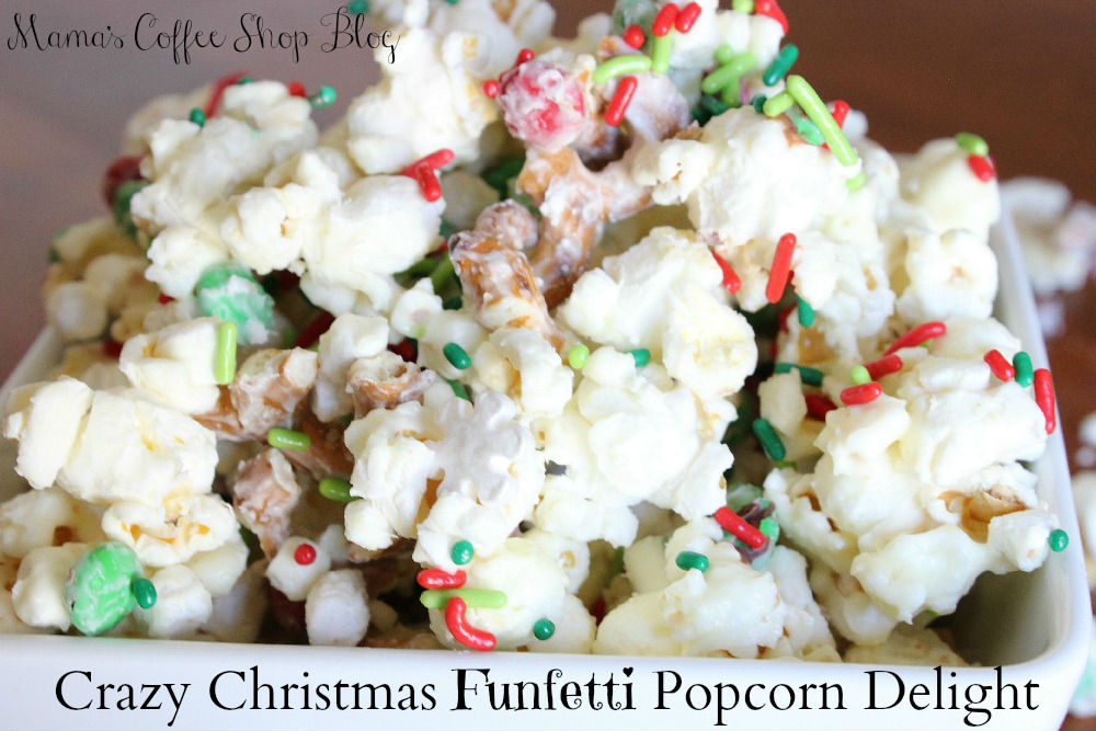 Close up of Crazy Christmas Funfettti Popcorn Delight - Mama's Coffee Shop