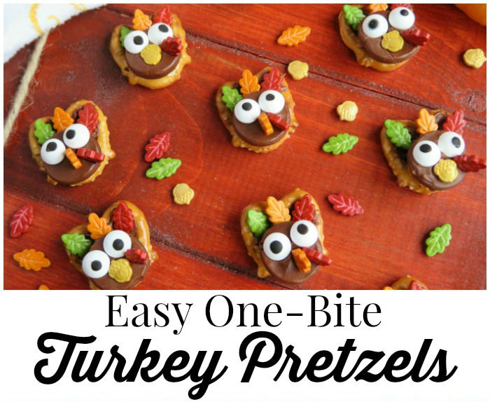 Easy One Bite Turkey Pretzels {Recipe}