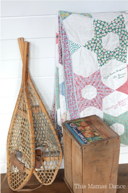quilt and snow shoes