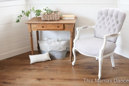 Button Tufting, white and navy striped chair-1
