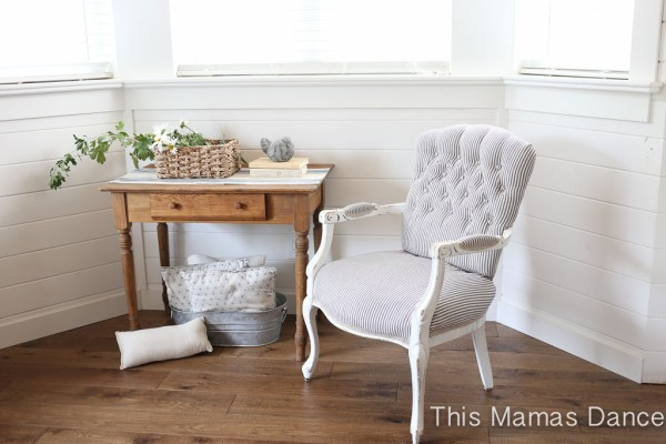 Button Tufting, white and navy striped chair-2