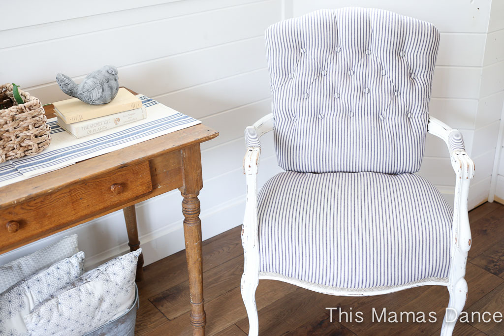 Button Tufting, White And Navy Striped Chair 5 ...