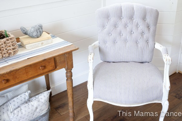 Button Tufting, white and navy striped chair-5