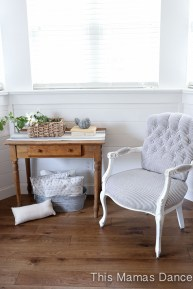 french style chair, blue and white stripe-1