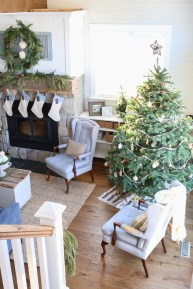 Blue, White and Green Christmas Living Room-1