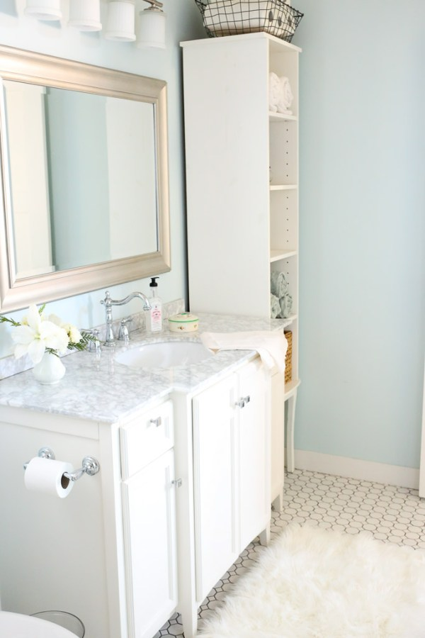 Cottage Bathroom, Marble Vanity-1