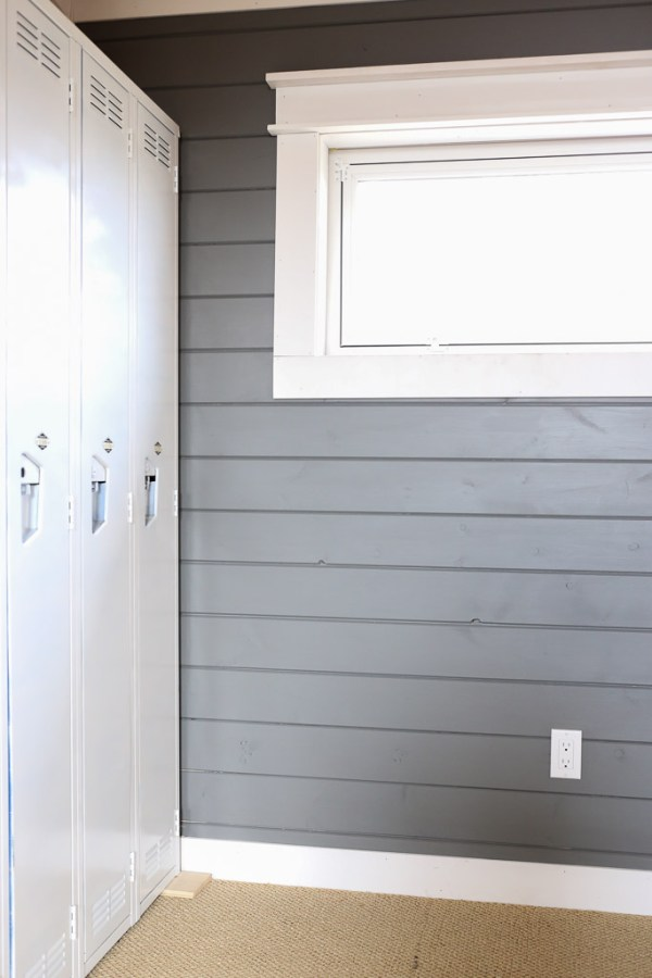 Dark Grey Plank Wall, White Farmhouse Trim This Mamas Dance-5