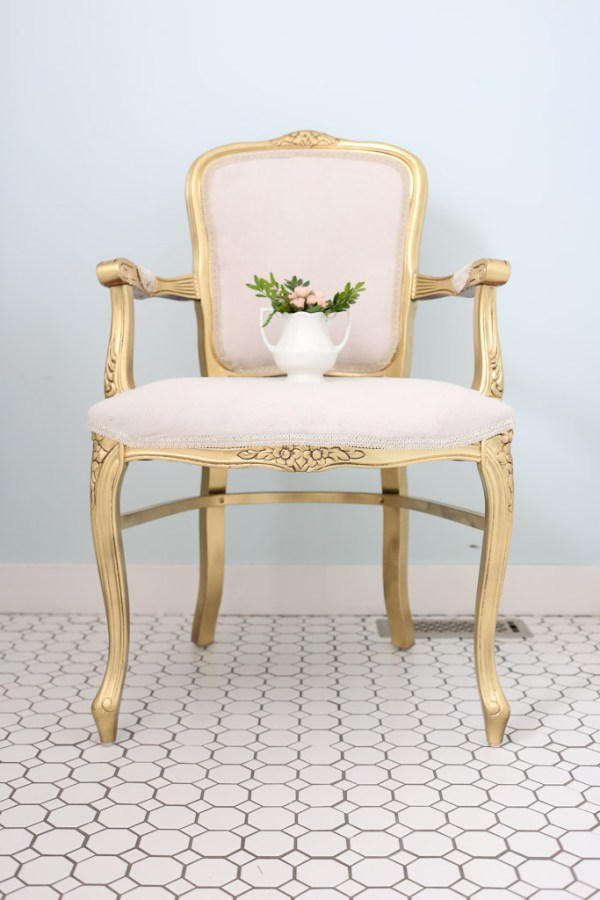 Spray Painted Gold French Chair, Antiquing Wax | This Mamas Dance-1