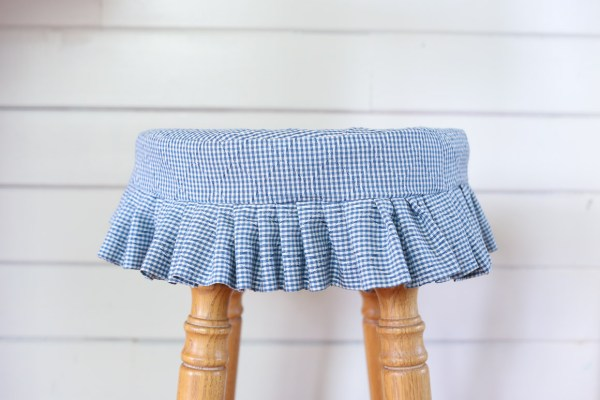 Blue and White Gingham Stool Cover | This Mamas Dance-1