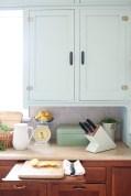 Farmhouse Kitchen, Mint Upper Cabinets, Wood lowers | Mamas Dance-7