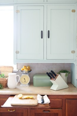 Farmhouse Kitchen, Mint Upper Cabinets, Wood lowers | Mamas Dance-7