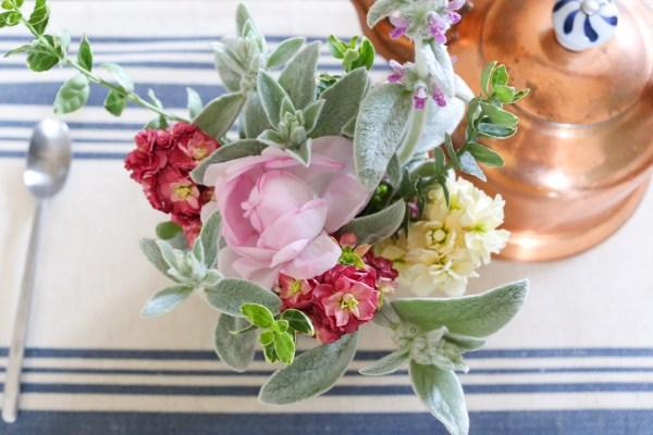 Garden Bouquet- Vintage Stock, Lambs Ears, Garden Rose