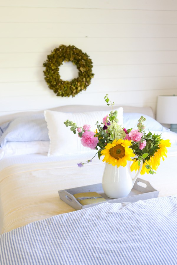 Yellow blanket, Blue and White Ticking Duvet, Farm Fresh Flowers | This Mamas Dance-3