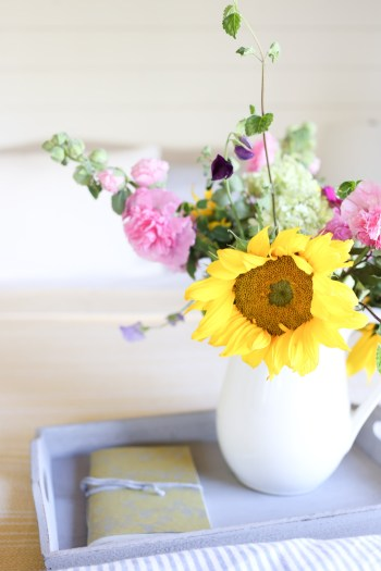 Yellow Throw, Blue and White Ticking Duvet, Farm Fresh Flowers | This Mamas Dance-8