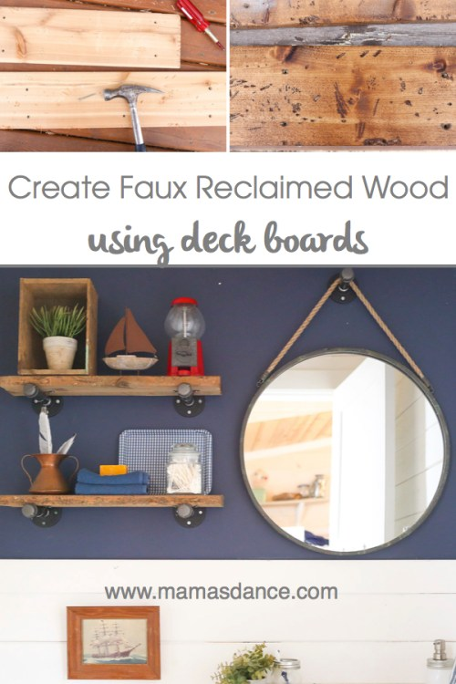 Create Faux Reclaimed Wood Using Deck Boards| via Ashlea from This Mamas Dance