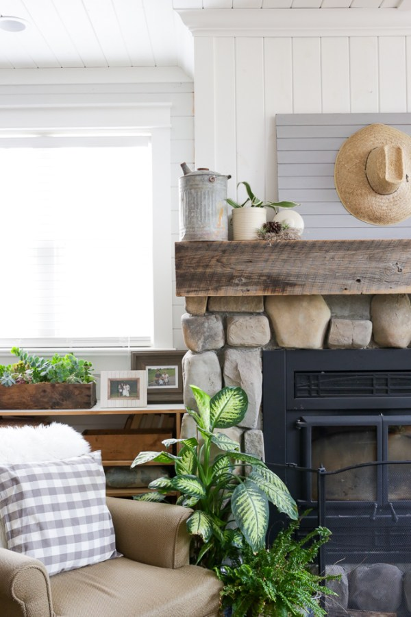 Fall Mantel with Greens and Grey | via Ashlea of This Mamas Dance