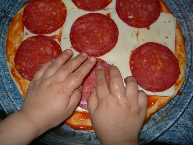 cocinar niños pizzas casera comer