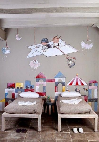 camas decoracion murales colores kids
