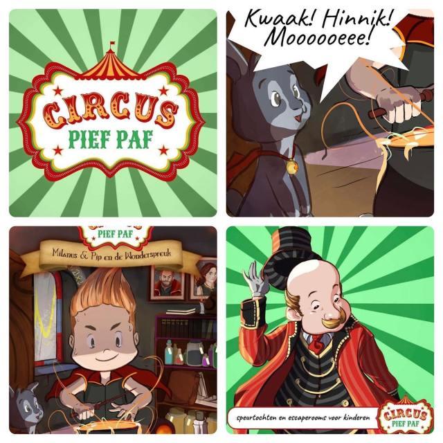 Milanus & Pip en de Wonderspreuk wscaperoom voor kinderen Circus Pief Paf