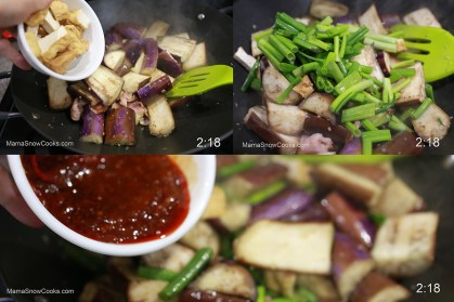 Stir Fry Chinese Eggplants with Tofu and Bacon in Spicy Shrimp Sauce 021620 (10)