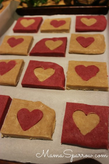 Red Beet Shortbread Cookies-Heart Cut-Horizontal