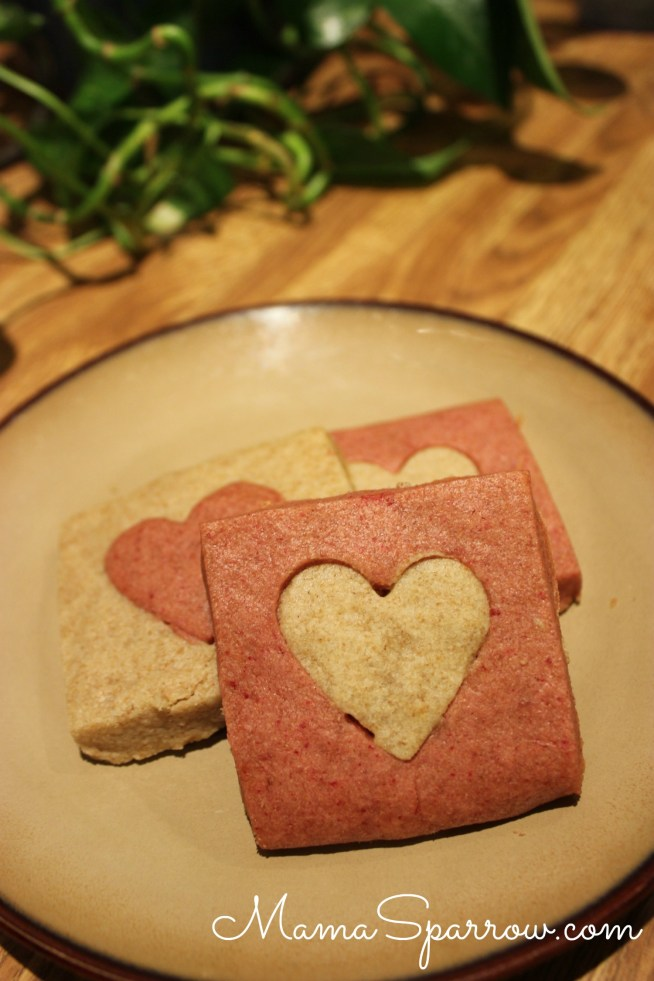 Red Beet Shortbread Cookies-Heart Cut-Plated-Red RSide
