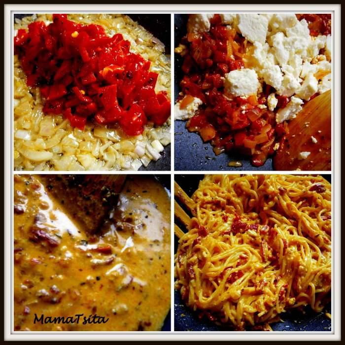 red roasted peppers spaghetti