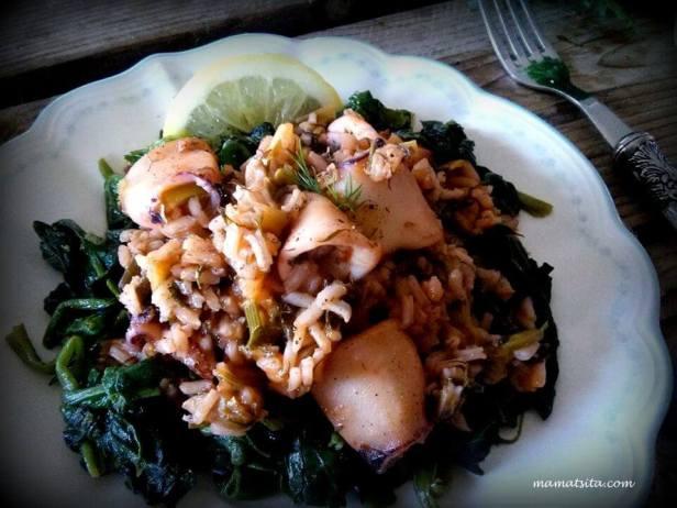 καλαμάρια με ρύζι