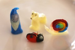 gnome, polar bear, snail, lady bug