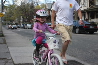 Our first born was later to ride her two-wheeler as we were only handed down the LIKEaBIKE that year. Though she still was able to skip training wheels because of the balance she learned from the balance bike.