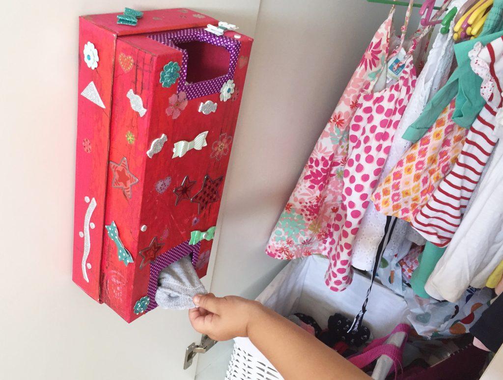Organizador de Calcetines con una caja de zapatos