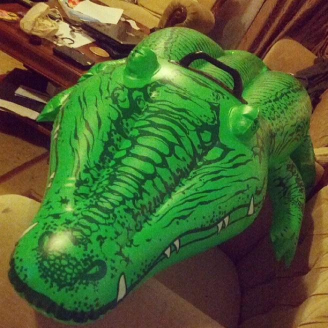 Inflating a crocodile
