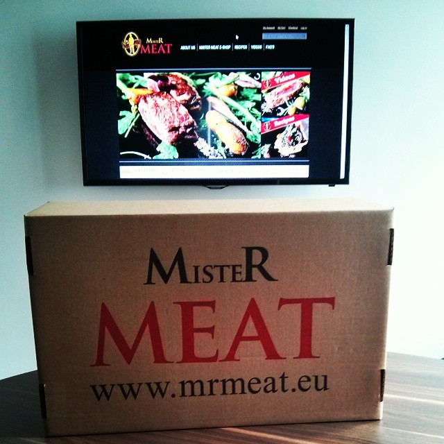 "First delivery of Mr.Meat to the office. 32"" TV at the back!"