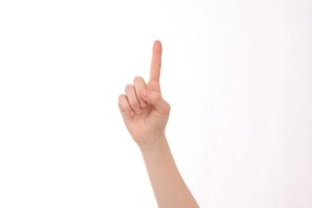 1を示す手