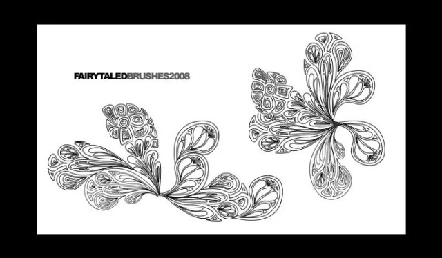 Lineart Brushes 2 - Free floral brushes for photoshop