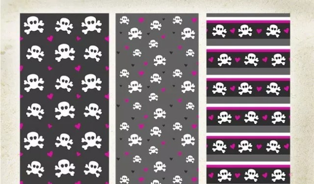 PS Patterns Skulls and Hearts - Collection of free Photoshop patterns