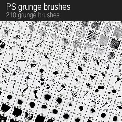 grung brushes - Win 210 Grunge Brushes from VectorPack.net